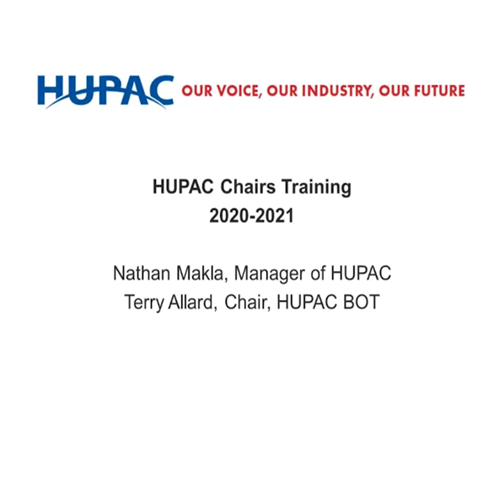 HUPAC Chairs Training